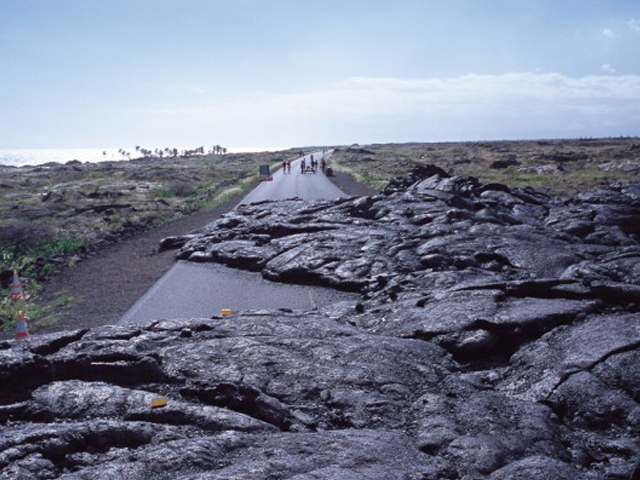 Hawaii Volcanoes National Park Mauna Ulu Flow Across Chain of Craters Road
