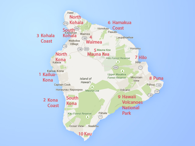 Ориентируемся на Big Island: Районы Большого острова Гаваев, карта