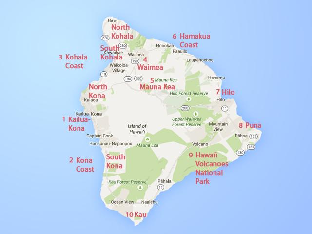 Карта Биг Айленд, Большого Острова Гаваев (Big Island, Hawaii)