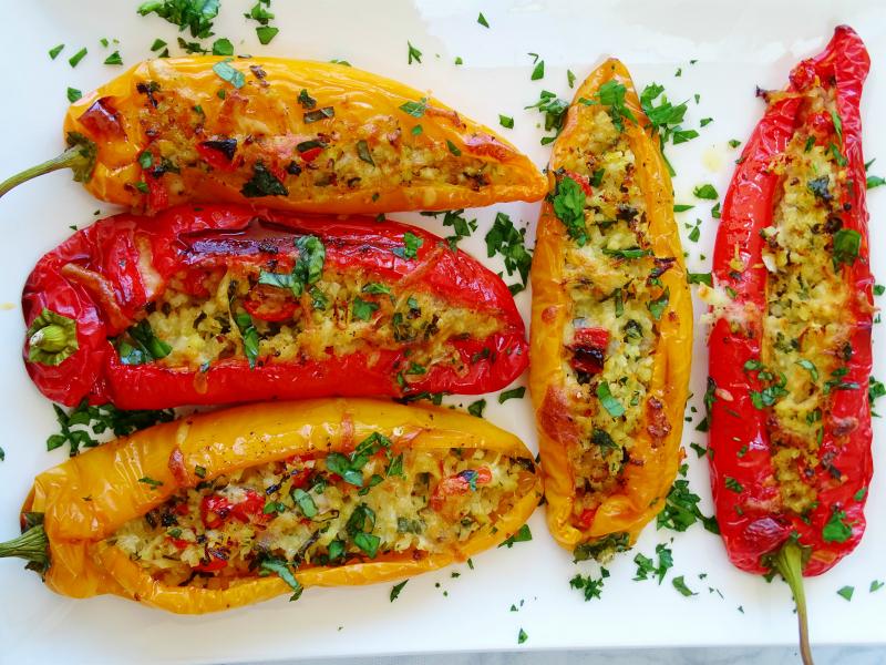 Перцы, фаршированные курочкой, грибами и травами, Chicken Stuffed Peppers